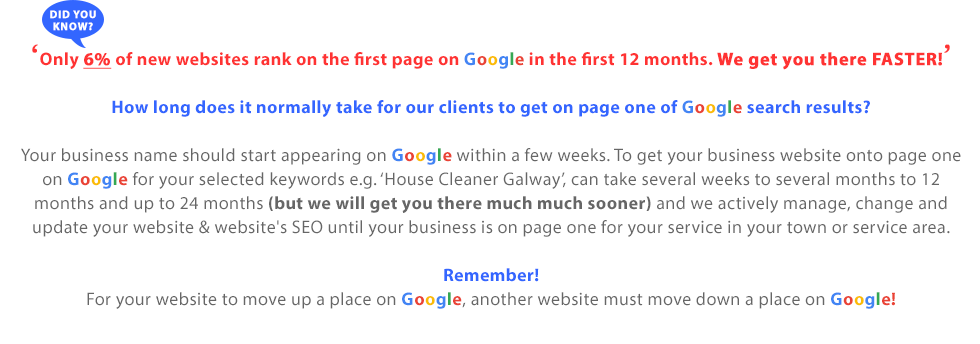 More about SEO | How long does it normally take for our clients to get on page one of Google search results? Your business name should start appearing on Google within a few weeks. To get your business website onto page one on Google for your selected keywords e.g. 'House Cleaner Galway', can take several weeks to several months and up to 12 months (but normally much sooner) and we actively manage, change and update your website and website's SEO until your business is on page one for your service in your town or service area. Remember: For your website to move up a place on Google, another website must move down a place on Google, so we must actively manage your website and SEO for you and the main aim of our SEO strategy is to ensure your business appears on Google search in the areas people are searching for your business service. SEO Target Areas - Free SEO Management Over the First Twelve Months! Self-employed in Co. Dublin: We target three local towns in your area with pop. of c. 100k persons plus either South Dublin or North Dublin. Due to difficulty, we do not target all of Co. Dublin. Self-employed Outside Co. Dublin: We target three local towns + your county with pop. of c. 100k persons.